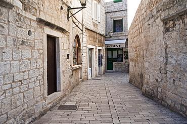 Old town lane, Trogir, County of Split-Dalmatia, Croatia, Europe