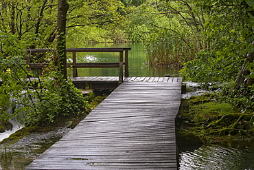 Wooden bridge in the Krka National Park, County of Sibenik-Knin, Croatia, Europe