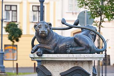Lion Fountain, Koeszeg, Hungary, Europe