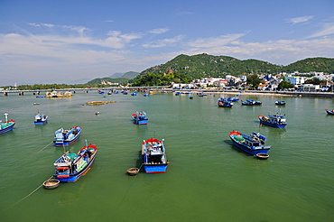 Fishing boats in the harbor of Nha Trang, Vietnam, Southeast Asia