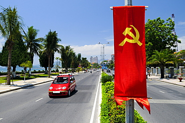 Main street of Nha Trang with communist flag, Vietnam, Southeast Asia