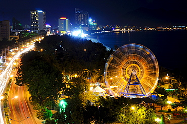 Night shot of Nha Trang with the Ferris wheel landmark, Vietnam, Southeast Asia