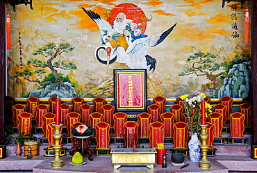 Ancestral altar in the Assembly Hall of the Chinese from Guangzhou, Hue, Vietnam, Southeast Asia