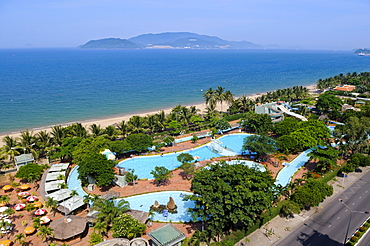 View of the city beach of Nha Trang with swimming pools, Vietnam, Southeast Asia