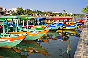 Traditional boats on the Song Thu Bon river, Hoi An, Vietnam, Southeast Asia