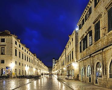 Historic town centre in the evening, Stradun, Dubrovnik, Ragusa, Croatia, Europe