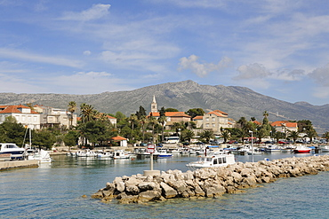View from the ferry to Korcula on the resort of Orebic, Peljesac peninsula, Croatia, Europe