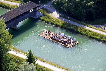 Aerial view, rafting on the Isar river, here in the channel north of the Icking weir, Bavaria, Germany, Europe