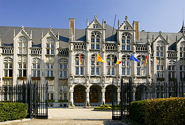 Palais des Princes-Eveques, the Episcopal Palace in Liege, the largest Gothic civilian building in the world, now provincial palace and court, Wallonia, Belgium, Europe