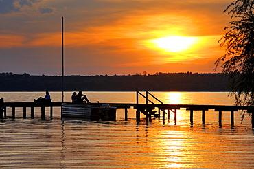 Sunset on Starnberger See or Lake Starnberg at St. Heinrich, Upper Bavaria, Bavaria, Germany, Europe