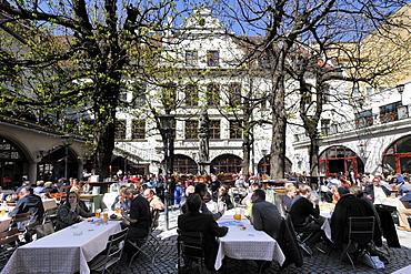 Beer garden in the inner courtyard of the Hofbraeuhaus in Munich, Bavaria, Germany, Europe