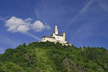 Romantic Marksburg castle in Braubach, seat of the German Castle Association eV, DBV, UNESCO World Heritage Site Oberes Mittelrheintal Upper Middle Rhine Valley, Rhineland-Palatinate, Germany, Europe
