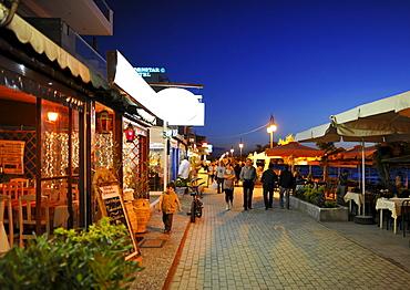 Night shot of the seafront, Perea near Thessaloniki, Chalkidiki, Macedonia, Greece, Europe
