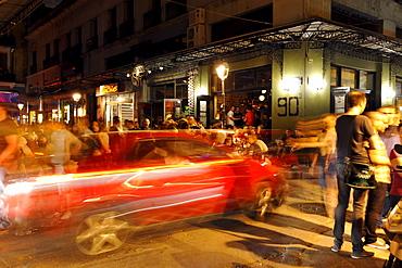 Night shot, night life in the student quarter of Thessaloniki, Chalkidiki, Macedonia, Greece, Europa