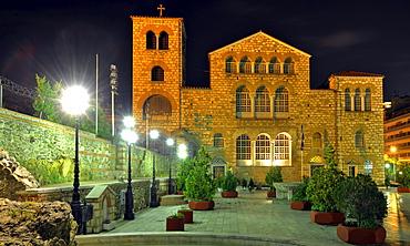 Night view of the Church of Saint Demetrius or Hagios Demetrio, Thessaloniki, Chalkidiki, Macedonia, Greece, Europe
