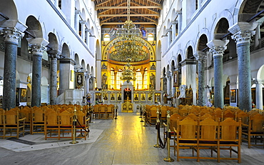 Interior, nave of the Church of Saint Demetrius or Hagios Demetrio, Thessaloniki, Chalkidiki, Macedonia, Greece, Europe