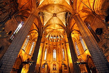 Interior, choir, main nave, Gothic cathedral of La Catedral de la Santa Creu i Santa Eulalia, Barcelona, Catalonia, Spain, Europe
