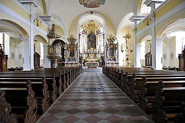 Interior, choir, nave, Heilig-Kreuz-Kirche church, Offenburg, Baden-Wuerttemberg, Germany, Europe