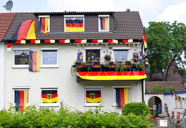 House decorated with German flags during Football World Cup 2010, Stuttgart, Baden-Wuerttemberg, Germany, Europe