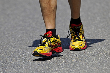 Marathon runner, running shoes, ChampionChip fixed on the shoe, used to keep track of the competition times of athletes