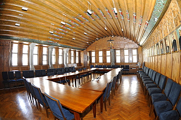 Interior, assembly hall, town hall, Ravensburg, Baden-Wuerttemberg, Germany, Europe