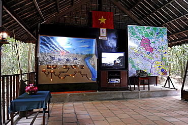 Screening and model of the tunnel system in the open-air war museum in Cu Chi, South Vietnam, Vietnam, Southeast Asia, Asia