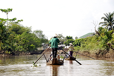 Rowing boats in the Mekong Delta, Vinh Long, South Vietnam, Vietnam, Southeast Asia, Asia