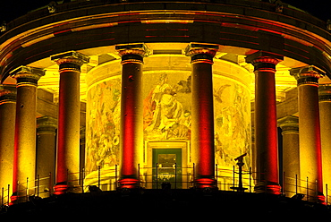 Victory Column, detail, portico with glass mosaics, illuminated during the annual Festival of Lights, Tiergarten, Berlin, Germany, Europe