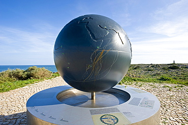 Globe in the Fortaleza de Sagres national monument, Ponta de Sagres, Sagres, Algarve, Portugal, Europe