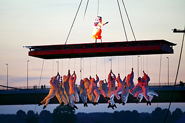 Global Rheingold, theatrical spectacle of the Spanish theatre group La Fura dels Baus, opening of the theatre festival Duisburg accents, part of the European Capital of Culture Ruhr 2010 celebrations, open-air theatre on Mercatorinsel in the harbour of Du