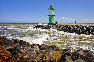 Port, lighthouses viewed from West pier, Warnemuende, Mecklenburg-Vorpommern, Germany, Europe