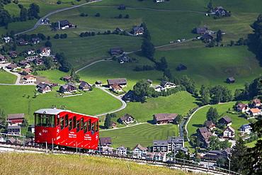 Funicular railway over Toggenburg landscape, Unterwasser, Canton St Gallen, Switzerland, Europe