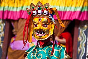 Masqued performer at the yearly Trashigang Tsechu, Trashigang, Bhutan, South Asia