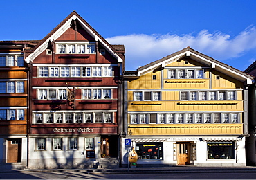Heritage houses in the center of Urnaesch, Appenzell, Switzerland, Europe