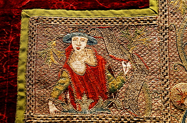 Figure of an elegant lady with a hat, elaborate embroidery on a chasuble, historical liturgical garment, Stiftsmuseum Museum Xanten monastery museum, Xanten, Niederrhein region, North Rhine-Westphalia, Germany, Europe