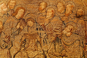 Mary and the apostles with halo, elaborate embroidery on a chasuble, historical liturgical garment, Stiftsmuseum Museum Xanten monastery museum, Xanten, Niederrhein region, North Rhine-Westphalia, Germany, Europe
