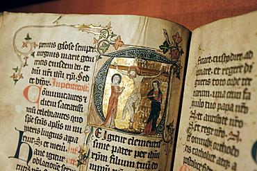Handwritten missal with artistic illuminations, initial with crucifixion, illumination, Stiftsmuseum Museum Xanten monastery museum, Xanten, Niederrhein region, North Rhine-Westphalia, Germany, Europe