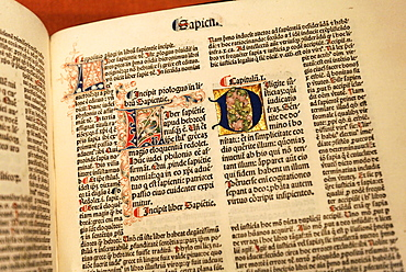 Handwritten bible with elaborate illuminations, Stiftsmuseum Museum Xanten monastery museum, Xanten, Niederrhein region, North Rhine-Westphalia, Germany, Europe