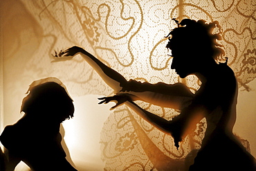 Woman bewitches a man, projection of silhouette figures on an illuminated curtain, shadow theater, tour Kunstakademie Art Academy in Duesseldorf, North Rhine-Westphalia, Germany, Europe
