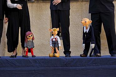 Prague Puppet Theatre, Spejbl, Hurvinek and Mani&ka, public performance on an outdoor stage on the Schlossplatz square, Meissen, Saxony, Germany, Europe