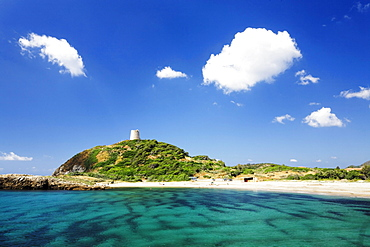 Saracen Tower, Torre di Chia, in a bay with the same name on the Costa del Sud, Sulcis Province, Sardinia, Italy, Europe