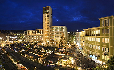 Christmas markets at the market place with City Hall, Stuttgart, Baden-Wuerttemberg, Germany, Europe