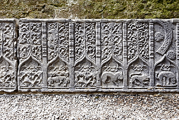 Stone reliefs, decorations on a tomb slab, Rock of Cashel, County Tipperary, Republic of Ireland, British Isles, Europe
