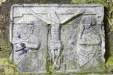 Figure relief in a cathedral, Rock of Cashel, County Tipperary, Republic of Ireland, British Isles, Europe