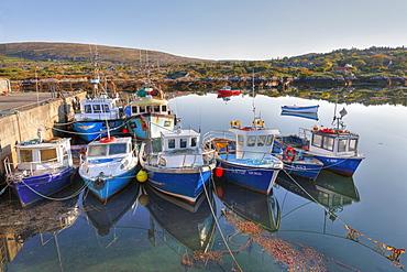 Fishing boats in Ballycrovane Harbour, Eyeries, Beara Peninsula, County Cork, Ireland, British Isles, Europe