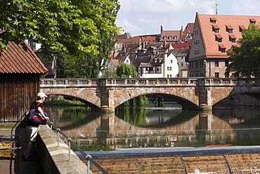 Maxbruecke Bridge crossing Pegnitz River, Nuremberg, Middle Franconia, Franconia, Bavaria, Germany, Europe