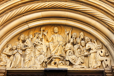 Last Judgement, detail of the Fuerstenportal Prince's Portal, Bamberger Dom cathedral, Bamberg, Upper Franconia, Franconia, Bavaria, Germany, Europe