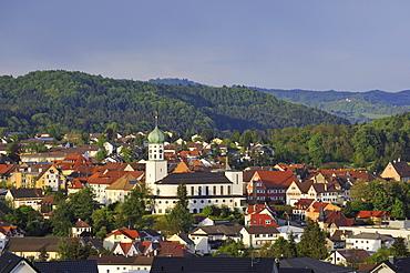 View on Stockach with the St. Oswaldkirche church, Landkreis Konstanz district, Baden-Wuerttemberg, Germany, Europe