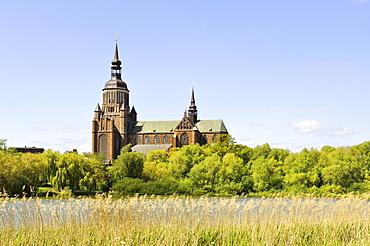 View across the Knieperteich Lake towards Marienkirche Church, Stralsund, Mecklenburg-Western Pomerania, Germany, Europa