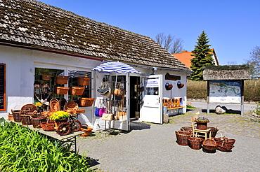 Basket maker's store on Ruegenhof farm, Putgarten near Cape Arkona, Ruegen Island, Mecklenburg-Western Pomerania, Germany, Europa